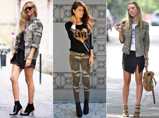 Tendência militar para a composição de looks